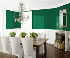 Look at the paint color combination I created with Benjamin Moore. Via @benjamin_moore. Wall: Rainforest Foliage 2040-10; Trim & Wainscot: Distant Gray 2124-70; Ceiling: Distant Gray 2124-70.