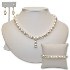 Monica - Swarovski Crystal Pearl Bridal Jewelry Set in Sterling Silver with Drop Center