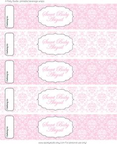 Pink and White Damask with black trim water bottle wrappers by APartyStudio, $7.00 You can print these on your home printer!
