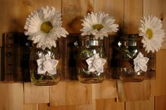 White Silk Flowers mason jar trio on recycled wood board by PineknobsAndCrickets, $42.00