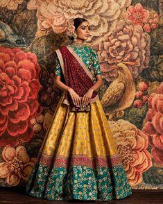 Shop online with latest lehenga choli. Shop this banarasi silk green, red and yellow lehenga choli for wedding. Designer Bridal Lehenga, Bridal Lehenga Choli, Silk Lehenga, Sabyasachi Designer, Lehenga Skirt, Choli Designs, Lehenga Designs, Indian Lehenga, Indian Attire