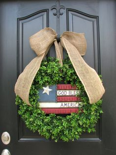 Memorial Day Wreath, Holiday Wreaths, Year Round Green Boxwood, Red White and Blue, 4th of July Decor, Freedom, Independence Day Wreath