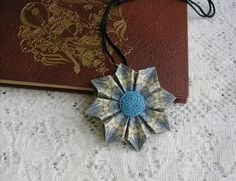 Origami Jewelry  Origami Pendant  Blues and by PaperImaginations, $19.00
