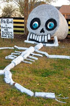Hay Bale Decorating Skeleton