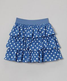 This Periwinkle Polka Dot Tiered Skirt - Toddler & Girls is perfect! #zulilyfinds