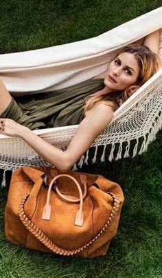 Who made Olivia Palermo's green maxi dress and brown handbag?