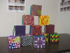 Student work, Op Art boxes. Thank you for the idea Pinterest! It was a great 3D project.
