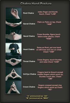 Chakra Hand Postures -- these mudras and bijas (seed sounds) have real physiological basis--I learned these today in yoga and completely work! Ayurveda, Sacral Chakra, Chakra Healing, Healing Meditation, Meditation Music, Indian Meditation, Meditation Images, Meditation Corner, Chakra Cleanse