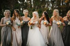 19 Prettiest Jenny Yoo Bridesmaid Dresses - The Wedding Pins Mismatched Bridesmaid Dresses, Bridesmaids And Groomsmen, Bridesmaid Flowers, Wedding Dresses, Boho Bridesmaids, Bridesmaid Headpiece, Mismatched Groomsmen, Different Colour Bridesmaid Dresses, Charcoal Grey Bridesmaid Dresses