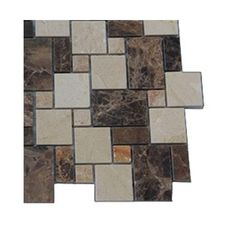 Splashback Tile Parisian Crema Marfil and Dark Emperador Blend 3 in. x 6 in. x 8 mm Marble Mosaic Floor and Wall Tile Sample, Multi