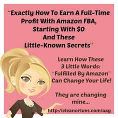 Fulfilled by Amazon can change your life it is changing mine!