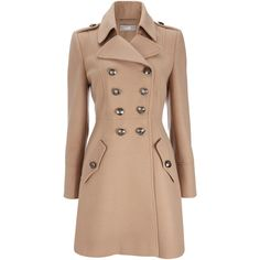 Camel Military Double Breasted Coat (57.205 CLP) ❤ liked on Polyvore featuring outerwear, coats, jackets, coats & jackets, tops, camel, double breasted camel coat, field coat, double breasted military coat and beige coat