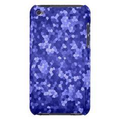 Cute blue mosaic background design iPod Case