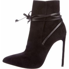 Saint Laurent Paris 110 Ankle Boots ($495) ❤ liked on Polyvore featuring shoes, boots, ankle booties, heels, ysl, ankle boots, short boots, black suede ankle booties, suede bootie and pointed toe booties