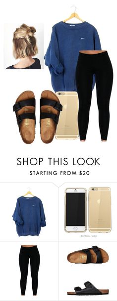 """Comfy"" by kaylaboox on Polyvore featuring NIKE and Birkenstock"