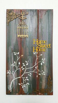 Placa Decorativa com apliques em madeira. Amo artesanato. Um pouquinho do meu trabalho! Arte Pallet, Pallet Art, Wood Crafts, Diy And Crafts, Arts And Crafts, Home Decor Wall Art, Diy Home Decor, Pallet Boxes, Turkish Art