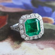 Vintage Edwardian 1920's 2.63ct t.w. Emerald Cut Emerald & Old Cut Diamond…