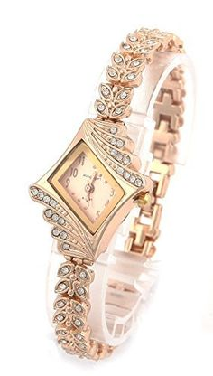 COCOTINA Brand New Lady Women Quartz Rhinestone Crystal Wrist Watch Rhombus gold surface -- Find out more about the great product at the image link.