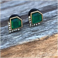 Strass vert bijou or tonique art déco bouchons pour oreilles jaugés : 6g 4g 2g 0g 4mm 5mm 6mm 8mm