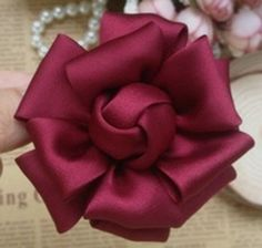 Larger handmade silk flower 2 5 inches in wine my 298 25 ready to ship Fabric Roses Diy, Fabric Flower Pins, Satin Ribbon Roses, Satin Flowers, Silk Fabric, Fabric Rosette, Fabric Flower Tutorial, Paper Roses, How To Make Ribbon