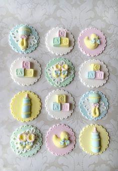 New Cupcakes Baby Shower Fondant Etsy Ideas Fondant Baby, Fondant Cupcakes, Cupcake Cakes, Baby Cookies, Baby Shower Cupcakes, Shower Cakes, Baby Shower Cupcake Toppers, Fondant Cupcake Toppers, Shower Bebe