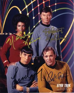 Star Trek (1966) color 8X10 signed by William Shatner, Leonard Nimoy (both at - 3/26-28/04 Creation Grand Slam convention, Pasadena), DeForest Kelley (signed through the mail August 1994), Nichelle Nichols (Collectormania 7).