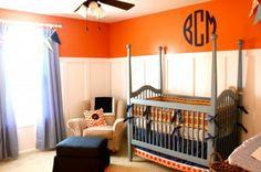Blue and Orange Nursery....I would do gray and orange.