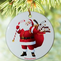 Hockey Christmas Santa Ornament