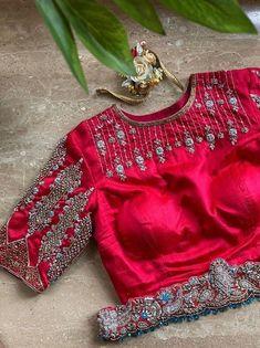 Lehenga Designs Simple, Lengha Blouse Designs, Fancy Blouse Designs, Bridal Blouse Designs, Blouse Neck Designs, Sleeve Designs, Cut Work Blouse, Hand Work Blouse Design, Stylish Blouse Design