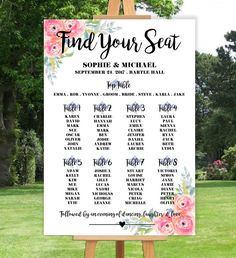PERSONALISED WEDDING TABLE SEATING PLAN- FLORAL-VINTAGE- A3 A2 A1 in Home, Furniture & DIY, Wedding Supplies, Other Wedding Supplies | eBay