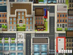 rpg maker modern map maps vx game buildings level pixel building fantastic tiles sprites roof city2 collection exterior nl app