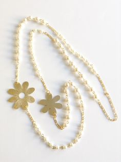 Long pearl Necklace, long Gold Flower Charm, 1 strand statement necklace, lariat necklace, Pearl jewelry, white pearl bridesmaid necklace