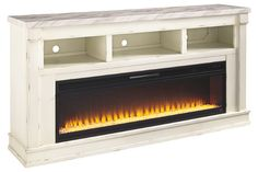 Becklyn Chipped White Extra Large TV Stand With Fireplace Insert Tv Stand With Fireplace Insert, Fireplace Inserts, Tv Furniture, Classic Furniture, Bedroom Furniture, Kitchen Furniture, Furniture Dolly, Furniture Outlet, Furniture Ideas