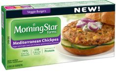 I WANT TO TRY THESE   -A totally refreshing veggie burger, made with chickpeas, spinach, Roma tomatoes, and traditional Greek herbs and spices. *MorningStar Farms® Mediterranean Burgers have 70% less fat than ground beef. Regular ground beef contains 15g total fat per serving (67g); MorningStar Farms® Mediterranean Burgers contain 4.5g total fat per serving (67g).