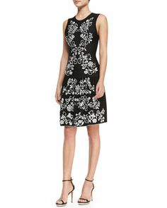 Briella Sleeveless Embroidered Flowers Dress, Black/White by Cynthia Steffe at Neiman Marcus.