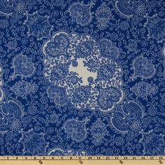 Designer Rayon Jersey Knit | Delft Flourish Blue