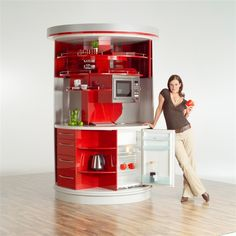 Compact Rounded Kitchen Collections For Small Modern Kitchen Design Ideas Red and White Circle Kitchen With Freezer and Microwave Oven From Compact Concepts – Home Designs and Pictures