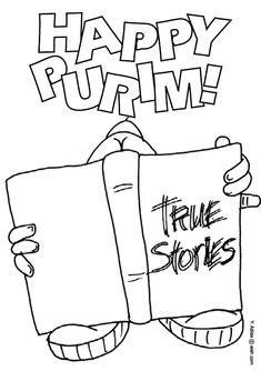 coloring page purim reading true stories english