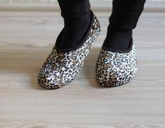 Women Leopard Socks - SALE New Product - Women Slippers, Velvet slippers, Size 6- 8 1/2 Brown slippers