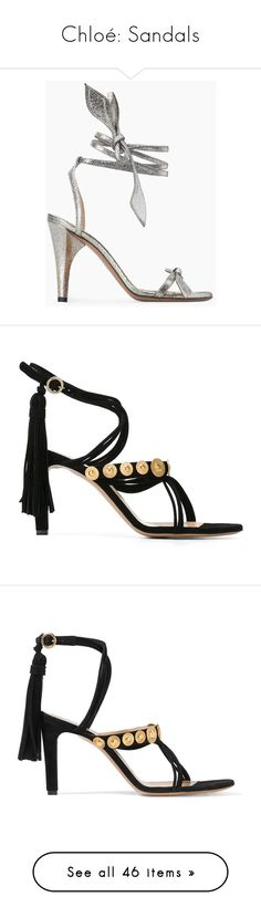 """Chloé: Sandals"" by livnd ❤ liked on Polyvore featuring shoes, sandals, black, black strappy sandals, strappy leather sandals, black leather shoes, high heel shoes, strappy sandals, strappy high heel sandals and suede sandals"