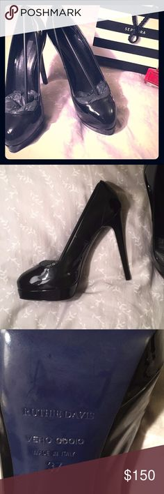 """🎉FREE🚚🎉 NWOT Ruthie Davis Heels These come with the dust cover and are brand new without the box - they still have the packing materials inside them. There are no flaws! Let me know if you'd like to see more pictures :)  About a 1"""" platform and 5"""" heel from the floor-  Italian made masterpieces.   I think you need them 😘. 💕BUNDLE FOR FREE SHIPPING! 💕 Ruthie Davis Shoes Heels"""