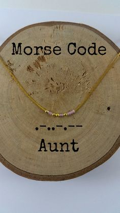 This dainty morse code necklace spell out AUNT. Gold plated beads and tiny cryst. - Stylist and Craft ideas - Pin this boardm - Help the street animals. Auntie Gifts, Sister Gifts, Homemade Gifts, Diy Gifts, Jewelry Crafts, Handmade Jewelry, Morse Code Bracelet, Dainty Necklace, Gold Necklace