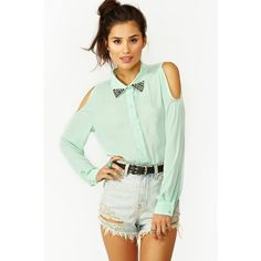 Studded Cutout Blouse - Mint ($20) ❤ liked on Polyvore
