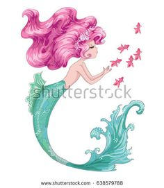 cute mermaid,Little mermaid.cartoon girl style.Sea themed ornament.seamless pattern with cute cartoon mermaid.Character design.Cute girl illustration.Template for design cards, notebook, shop, poster.