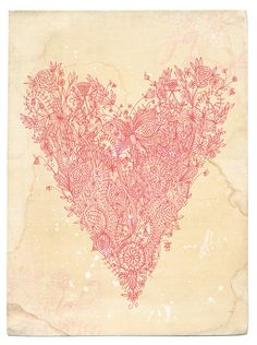 Love art print in pink  fine archival art by Paula Mills  for lovelysweetwilliam, $25.00