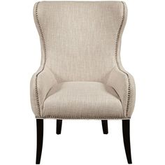 Seraphine Mink Upholstered Accent Armchair ($351) ❤ liked on Polyvore featuring home, furniture, chairs, accent chairs, upholstered furniture, fabric arm chair, upholstery fabric chair, upholstery fabric furniture and upholstery furniture