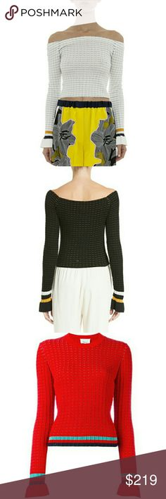 3.1 Phillip Lim Off-the-Shoulder Stripe Trim Sweat •94% cotton, 6% elastane  •Off-the-shoulder neckline  •Long bell cuff sleeves  •Stripe trim, contrast threads  •Rib knit, fitted crop style  •Dry clean only  size XS:bust 13*2,sleeve length 23,length 15  size S:bust 14*2,sleeve length 24,length 16  size M:bust 15*2,sleeve length 24,length 16  Size L:bust 16*2,sleeve length 25,length 17  black, white, red Sweaters Crew & Scoop Necks