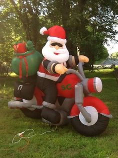 Christmas Airblown Inflatable Santa Claus On A Motorcycle