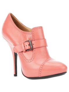 Lanvin pink leather buckled bootie ... would be very cute with gray pants