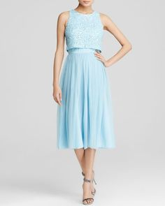 Aqua Dress - Faux Two-Piece Sequined Bodice Midi